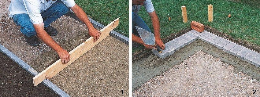 Установка бордюров, подготовка основания для мощения и укладка плитки на цементный раствор