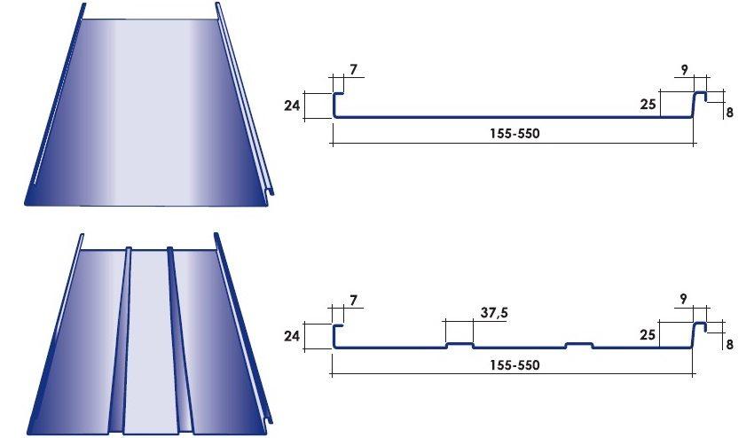 Типы профиля и размеры фальцевого покрытия (длина листа 8-12,5 м)
