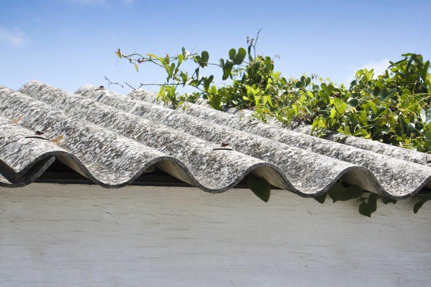 Крыша постройки покрыта листами шифера