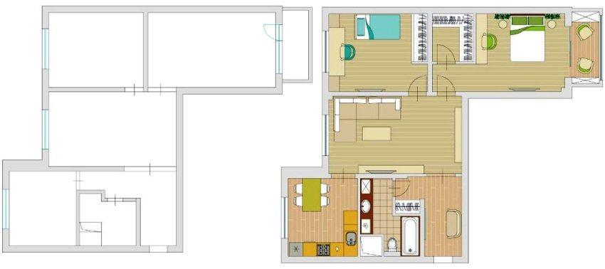 Трехкомнатная квартира до и после перепланировки