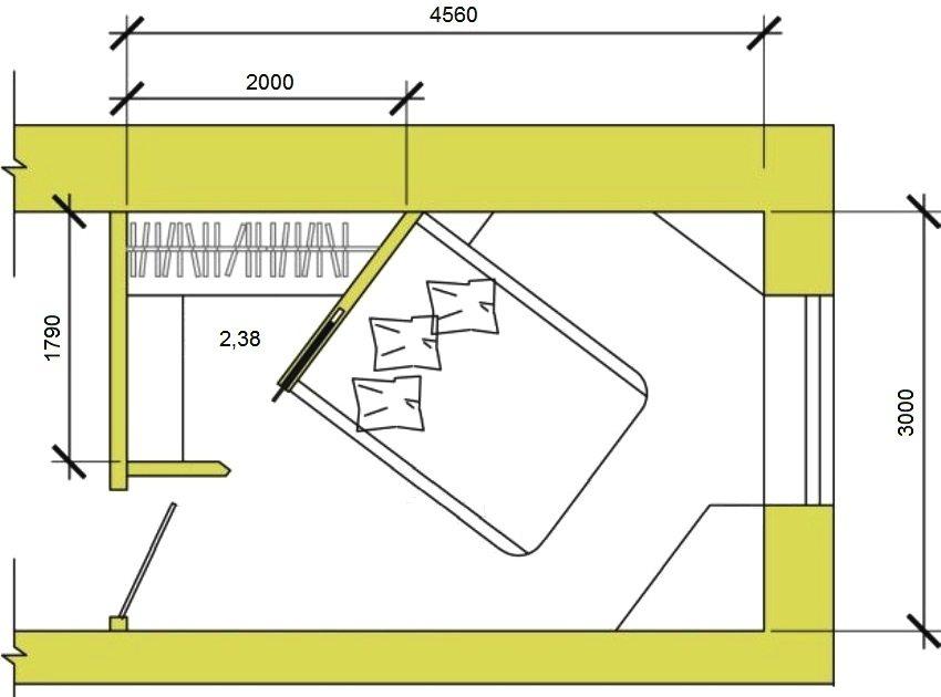 Пример организации гардеробной с раздвижными дверями в спальной комнате