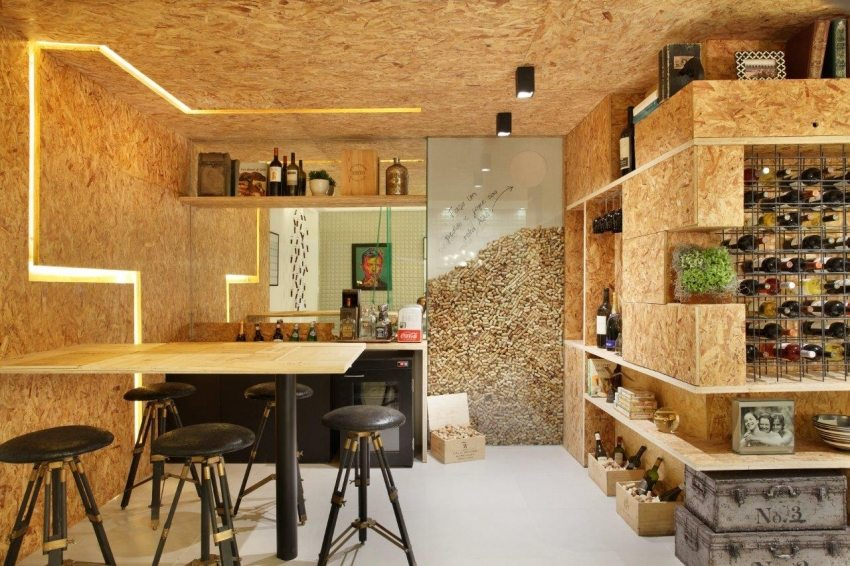 Применение плит ОСП в современном интерьере кафе