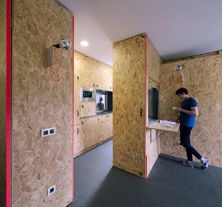 Стильный интерьер квартиры с отделкой из плит ОСП