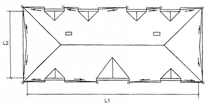 Схема устройства четырехскатной вальмовой крыши