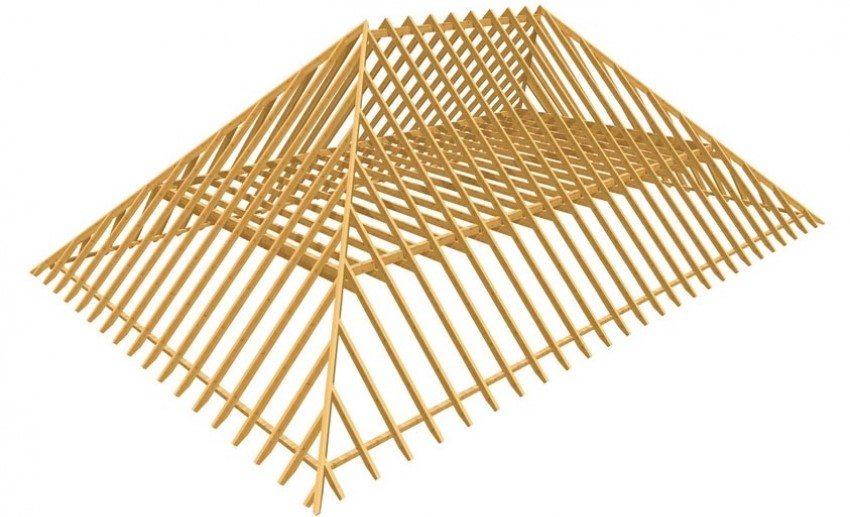 Схематическая конструкция вальмовой крыши