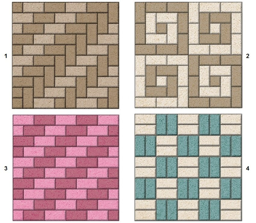 Примеры простых схем укладки тротуарной плитки: 1 - елочка, 2 - спираль, 3 - лесенка, 4 - шахматка