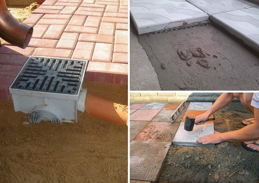 По окончанию работ необходимо проверить уровнем поверхность и забить выступающие плитки резиновым молотком