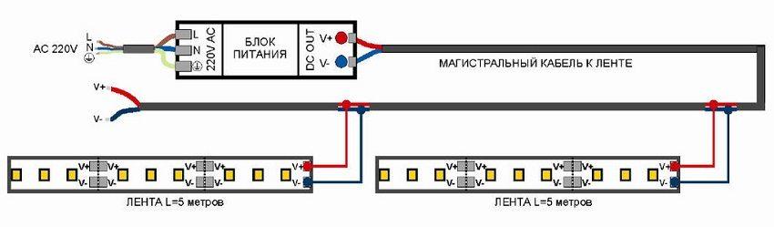 Схема параллельного подключения светодиодной ленты до 5 м