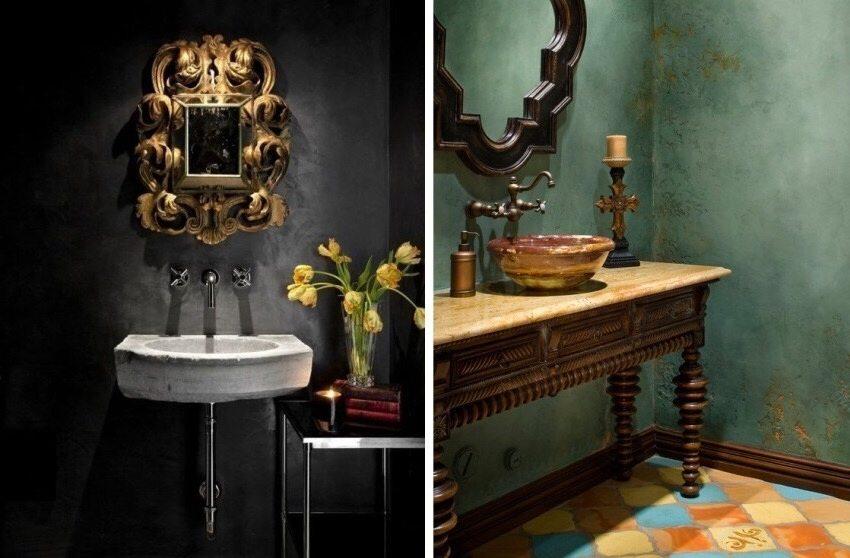 Примеры использования в ванной комнате влагостойкой штукатурки