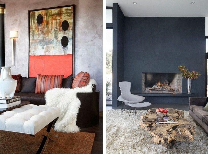 Декоративная штукатурка поможет создать стильный дизайн гостиной