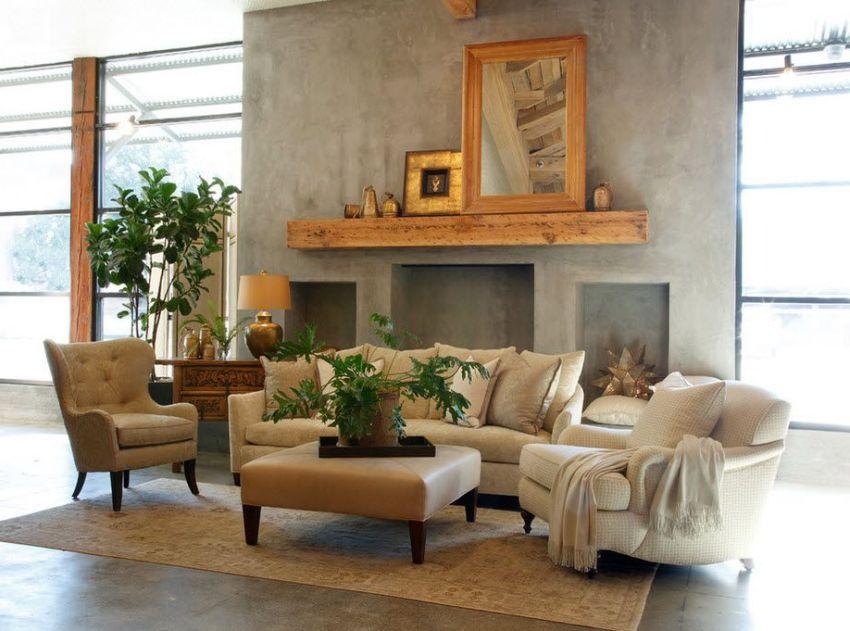 Фальш-камин в гостиной оформлен декоративной штукатуркой