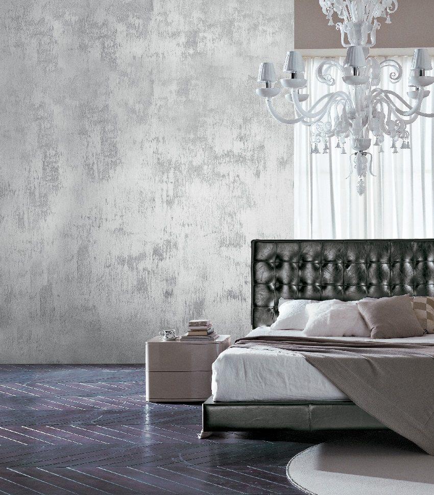 Изысканный интерьер в спальне, созданный при помощи декоративной штукатурки