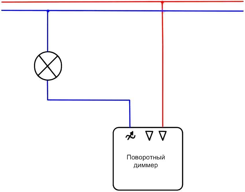 Схема простого подключения поворотного диммера