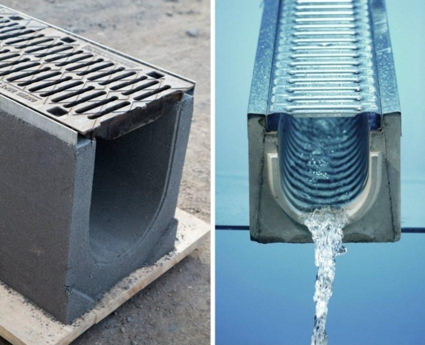Ровная внутренняя поверхность лотка способствует быстрому и эффективному отводу дождевой воды