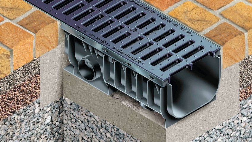 Конструкция лотка ливневой канализации