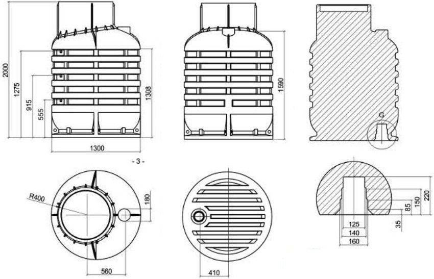 Монтажные размеры пластикового кессона фирмы Rodlex