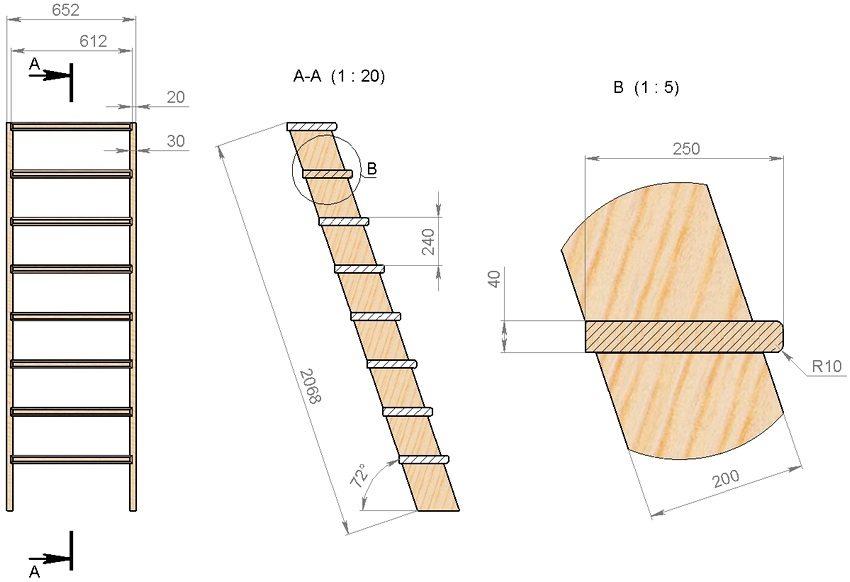 Схема устройства лестницы для погреба