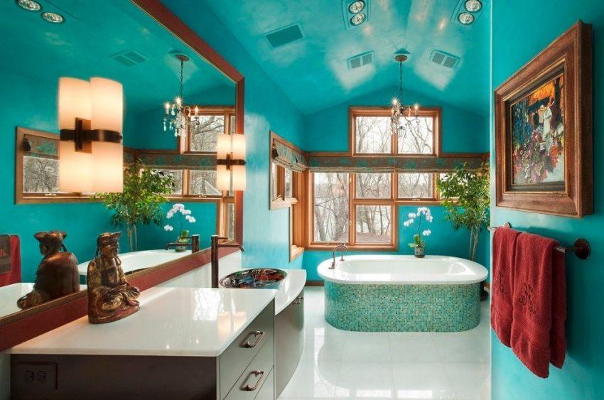 Яркие влагостойкие обои для ванной комнаты