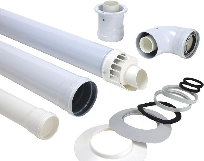 Трубы и другие комплектующие коаксиального дымохода