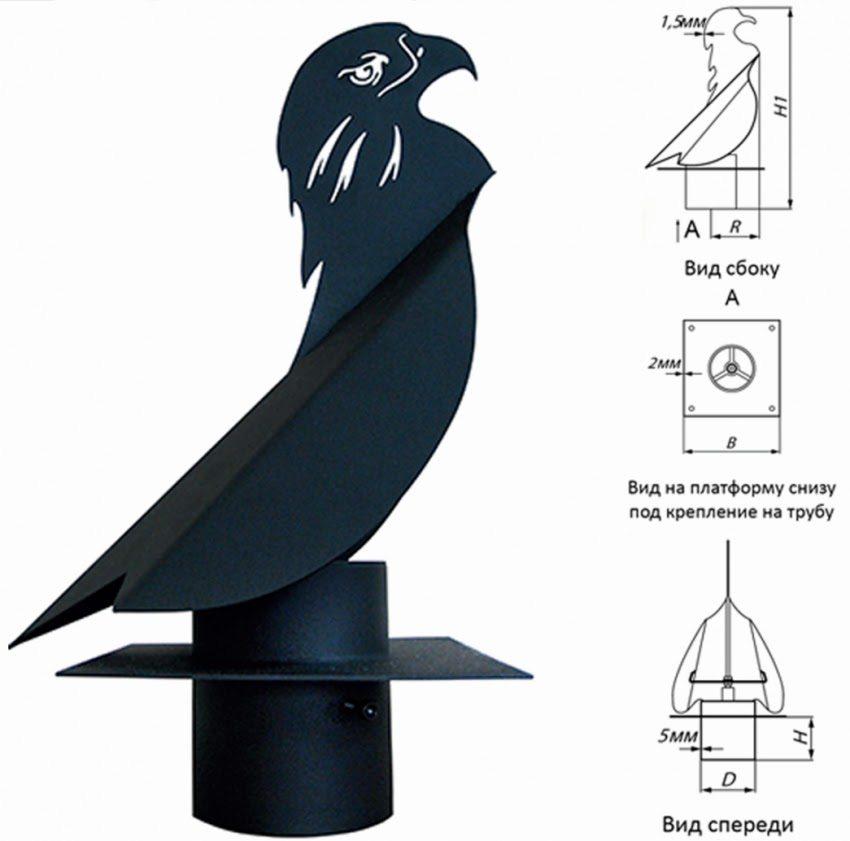 Схема устройства дефлектора-флюгера: D = 108 мм; B = 210 мм; H = 80 мм; R = 200 мм; H1 = 530 мм