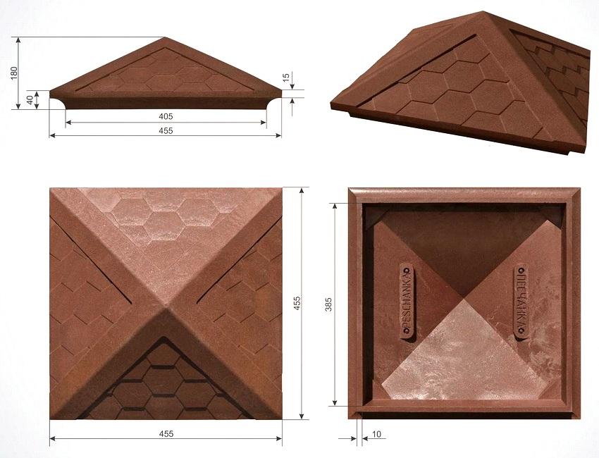 Размеры полимер-песчаного композитного навершия для столба