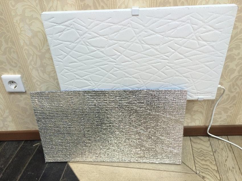 Использование при монтаже обогревателя на стену пленки с отражающим эффектом поможет направить тепло в нужном направлении
