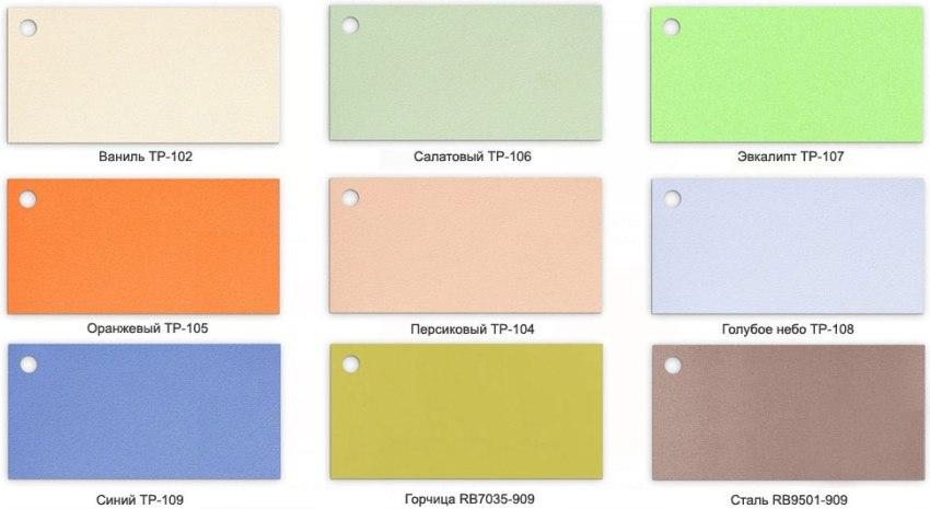 Различные варианты расцветок матовых пластиковых панелей для стен
