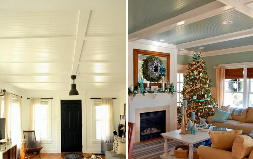 Примеры отделки потолков пластиковыми панелями