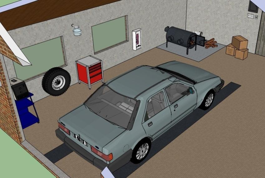Пример использования в гараже твердотопливной печи типа булерьян
