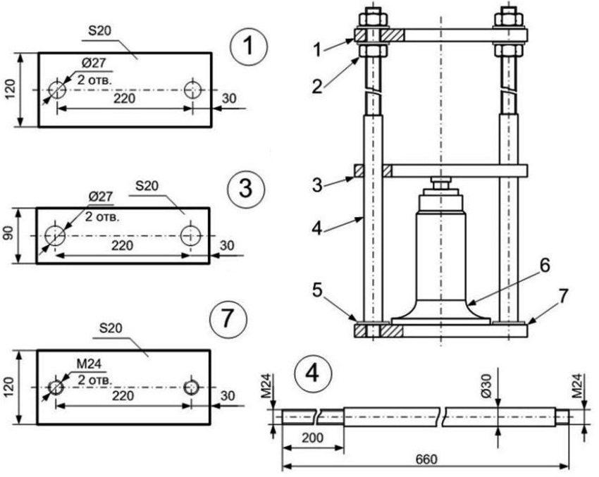 Схема изготовления гидравлического пресса: 1 - верхняя силовая платформа, 2 - гайки, 3 - нижняя платформа, 4 - шпильки диаметром 30 мм, 5 - нижняя резьба шпилек, 6 - гидравлический домкрат бутылочного типа; 7 - основание толщиной 20 мм