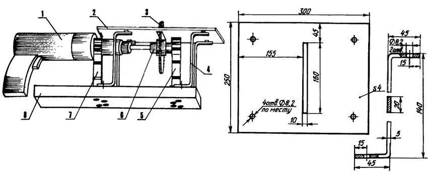Вариант циркулярной пилы из дрели. Компоновочная схема: 1 - привод (электродрель); 2 - рабочий стол (дюралюминий, лист s5); 3 - дисковая пила; 4 - стойка (Ст3, полоса 20×5, 4 шт.); 5 - опорный держатель вала оправки; 6 - оправка; 7-держатель электродрели; 8 - опорная плита (мебельная ДСП, s30)