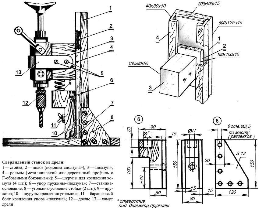 Для создания сверлильного станка из дрели не нужно применять особенные материалы и покупать дополнительные комплектующие