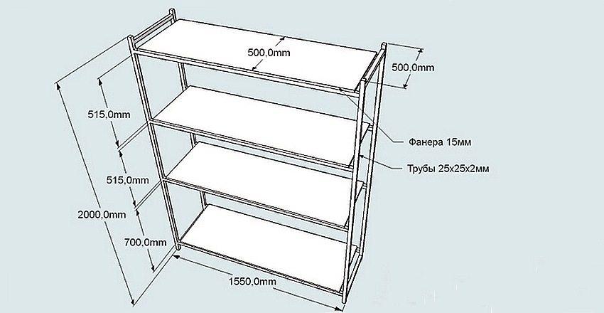 Схема устройства с монтажными размерами стеллажа под инструмент в мастерской