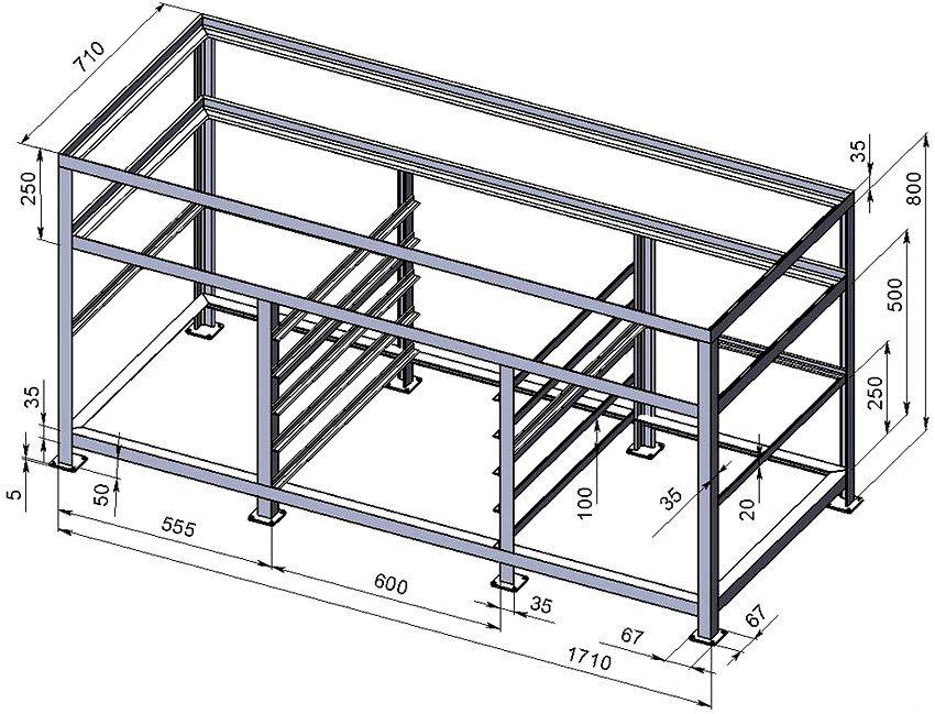 Монтажная схема слесарного верстака из металла