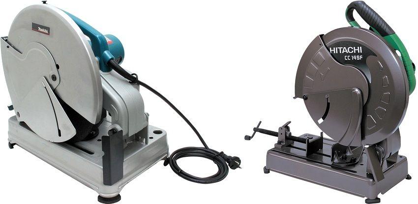 Популярные модели отрезных пил по металлу: слева - Makita 2414NB, справа - Hitachi CC14SF