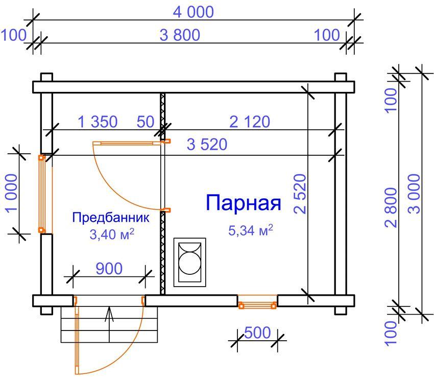 Проект маленькой каркасно-щитовой бани 4 на 3 м