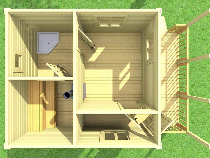 3D-визуализация небольшой по площади каркасной бани