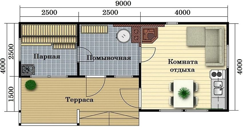 Проект каркасной бани под ключ 4х9 м с комнатой отдыха и террасой