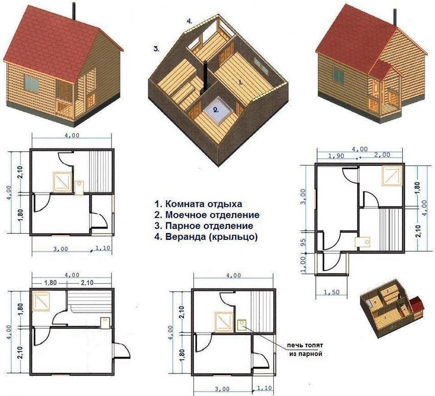 Различные варианты планировки каркасной бани 4х4 м