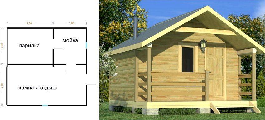 Проект каркасной бани 3 на 4 м с тремя внутренними помещениями