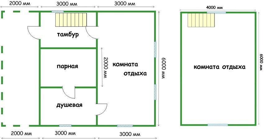 Проект каркасной бани 6х6 с мансардой, в которой расположена большая комната отдыха