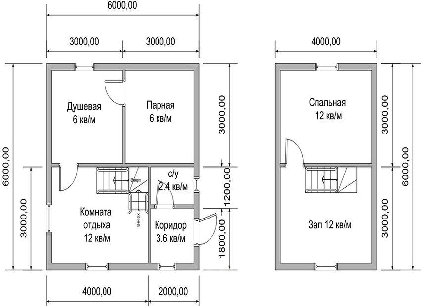 Проект бани 6 на 6 м с жилыми помещениями в мансарде