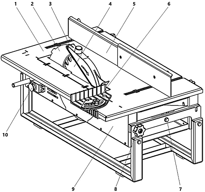 Общий вид станка в режиме пиления: 1 - пильный стол; 2 - расклинивающий нож; 3 - защитный кожух; 4 - пильный диск; 5 - направляющая линейка; 6 - приспособление для поперечной распиловки под углом; 7 - ось; 8 - ручки; 9 - механизм привода; 10 - выключатель