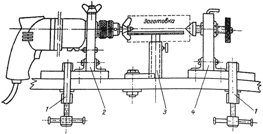 Схема устройства самодельного токарного станка на основе дрели: 1 - крепления к столу или верстаку; 2 - передняя опора; 3 - опора под заготовку; 4 - задняя опора