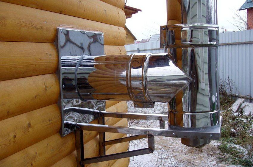 Монтаж сэндвич дымоотвода на деревянный сруб