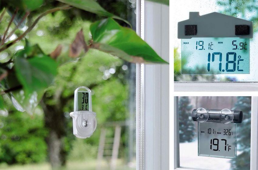 Некоторые модели электронных термометров крепятся на оконное стекло