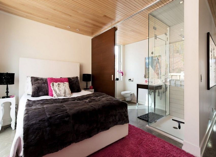Combined partition on the border of a bathroom and a bedroom made of glass and wood