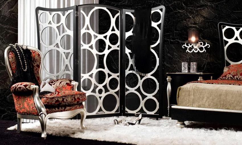 В интернет-каталогах представлены варианты единых композиций, включающих декоративную перегородку для комнат