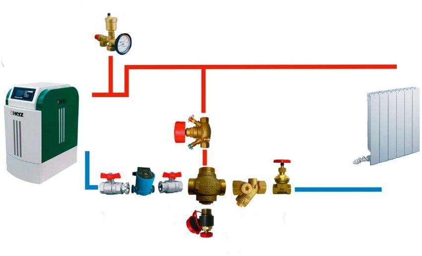 Схема отопления с трехходовым клапаном