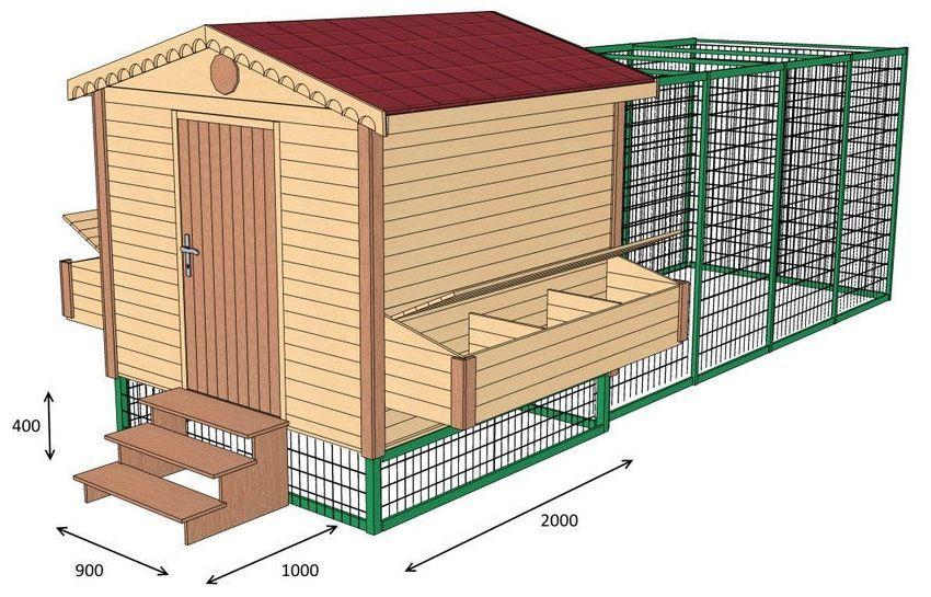 3D-модель зимнего курятника с домиком для птицы и зоной для выгула